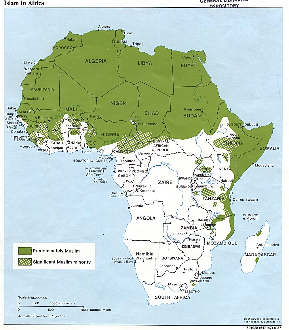 Islamic Religion Map Muslim distribution in Africa